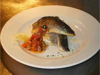 Cornish sea bass fillets with a red pepper salsa