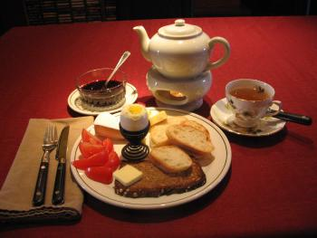 Breakfast at the B&B - bread, toast, boiled egg, cheese, jam