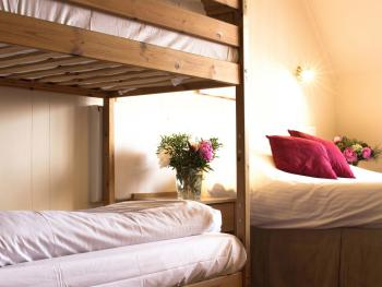 Family rooms have a double bed and a bunk bed for children
