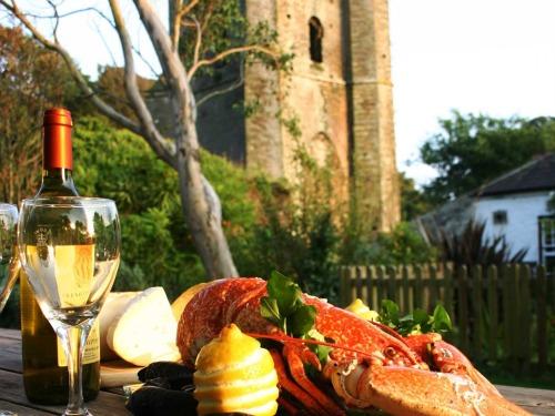 Lobster enjoyed in the garden