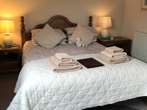 This king bed room is spacious with ensuite shower ,tv and tea and coffee tray ironing board iron and hairdryer