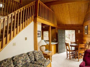 Cabin 1 living room and dining area