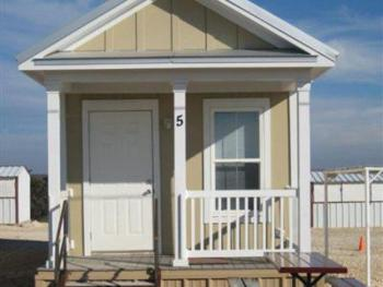 Cabins: 5 available, each 1 bedroom with a queen size bed, plus a queen-size sleeper sofa in the living area. Fully furnished with dishes, towels, furniture, and a flat screen TV with Dish Network. Ki