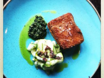 Lamb Scrumpet, Courgette and Anchovy Salad, Green Sauce