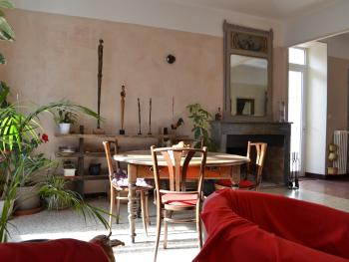 Le salon et sa cheminée