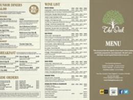 The Oak Menu