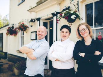 The Elsted Inn - The Management team - Gareth Coombs, Charlie Piper-Hodgson, and Thais Robertson