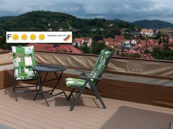 Blick von der Dachterrasse der Ferienwohnung Trollmann