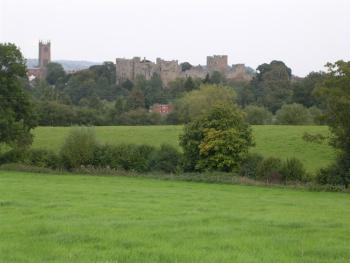 View over the fields with the hotel, church and Ludlow Castle in the distance