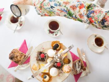 Birdview of an Afternoon tea table