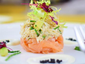 a Lovely Fresh Crab & Salmon starter