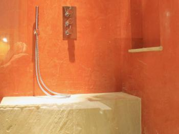 Large wet room with below shower seating, toilet and basin in 'The Willow' - Guest Room
