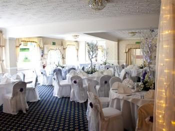 Function room made up for a wedding.