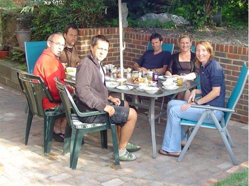 Students attending European School of Osteopathy enjoying beakfast outside