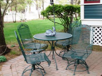 Patio area amid the gardens of yesteryear.