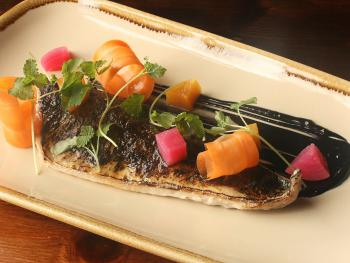 Lightly grilled local mackerel