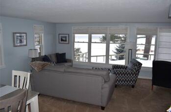 Common sitting area overlooking Lake Michigan