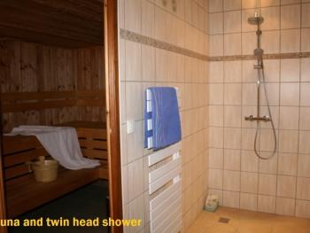 Sauna and twin head shower