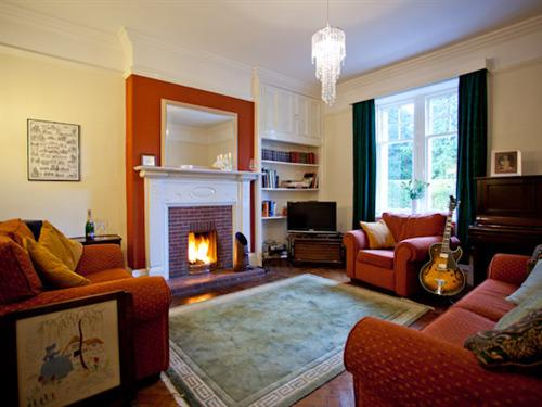 The guest lounge - open log fire and comfy chairs and sofa