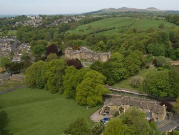 Aerial view showing the castle behind