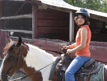 Horseback riding at neighborhood stable