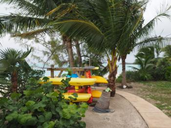 Kayaks next to the Tiki Bar