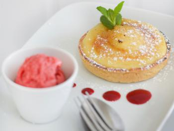 Lemon Tart with Raspberry Sorbet