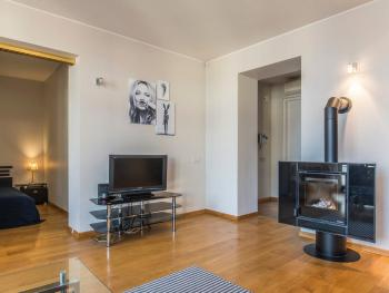 Flat screen TV and Lovely Dining Room of Park View Studio