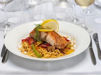Our Restaurant menu :Marinated Grilled Salmom