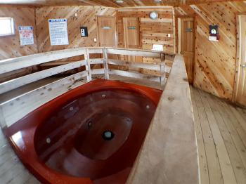 Indoor hot tub and sauna with bathroom and dressing room