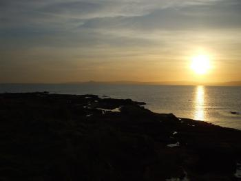 Sunset on Seamill shore, in front of Carlton