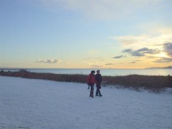 Ayrshire Coastal Path at Seamill, on a snowy day
