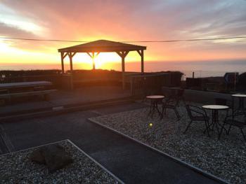 Sunset view over our new wedding gazebo