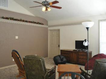 Relax in the shared living space at the Inn's Guest House.