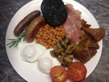 Full breakfast with poached eggs