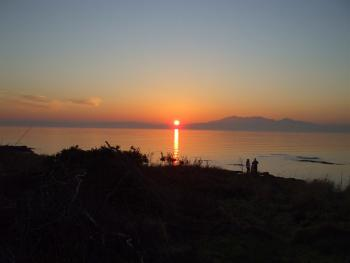 Sunset over the Isle of Arran, in front of Carlton Seamill