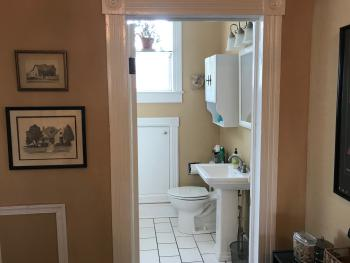 The shared upstairs bathroom.