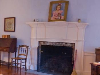 The mantel in the Blue guest room