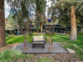 Custom wrought iron gazebo nestled in the courtyard which is also used for intimate wedding ceremonies.