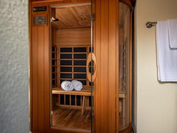 Chestnut chalets master bathroom is equipped with a cedar two person dry sauna.