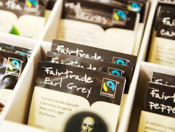 A full selection of fair trade tea is in your room including peppermint, green, English breakfast and de caff tea