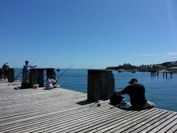 Fishing off Swanage pier