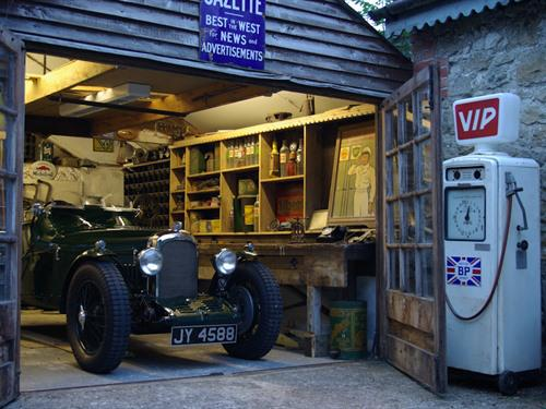 Tim's vintage garage full of automobilia