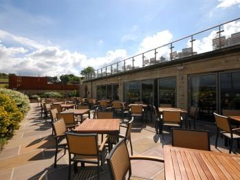 Our terrace at The Fleece Inn