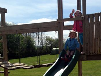 We have a professionally installed children's adventure play area, with slide, wobbly bridge, monkey bars, climbing ropes and scramble net located inside a large sandpit in the Beach Meadow field