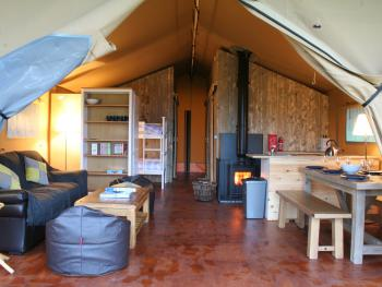Beara Lodge Glamping - Looking into tent from raised decking