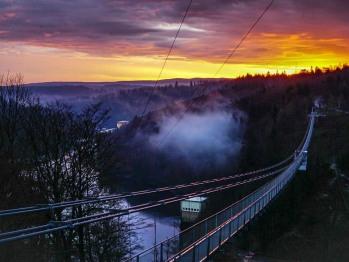 Hängebrücke an der Rappbodetalsperre im Harz