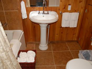 The Cornerstone Cabin - shower with jacuzzi tub