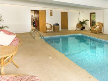 View of the pool showing Shower & Sauna at the rear