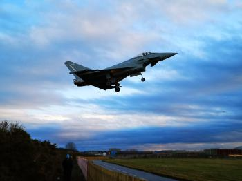 Typhoon coming into land at RAF Lossiemouth